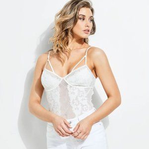 (NEW) GUESS off-white strappy lace bodysuit
